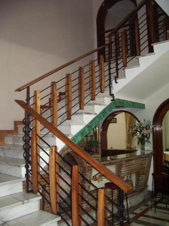 Hotel Santa Prisca: stairs up, and bar.  They also have an elevator