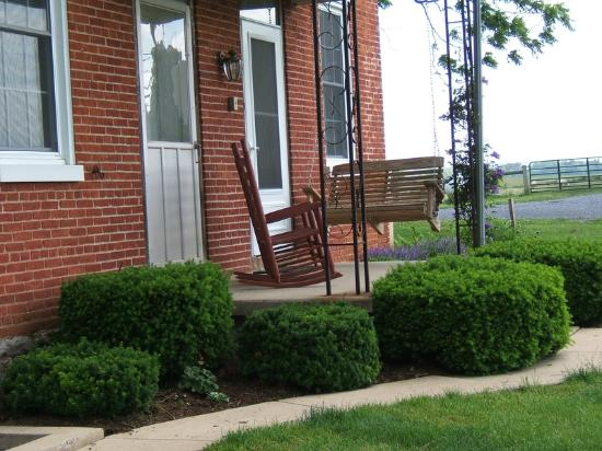 Manheim, PA: A relaxing porch overlooking the backyard.  A patio with picnic table is nearby.