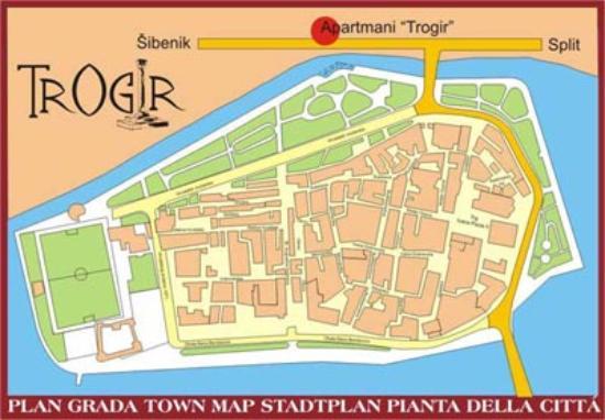 Apartmani Trogir: Map of Trogir showing location