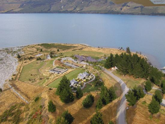 Glenorchy, Nieuw-Zeeland: bird's eye view of the resort