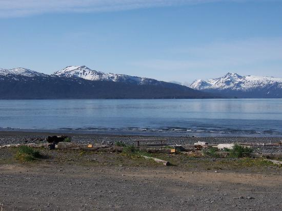 Homer Spit Campground: View across Kachemak Bay from campground
