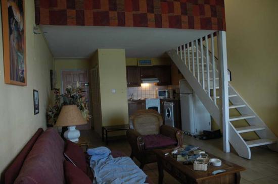 La California: Apartment Interior (loft BR/bath above, 2nd BR/bath behind stair wall)