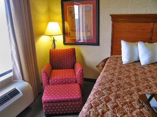 Hampton Inn Laramie : Room 333 comfortable chair and otoman near window