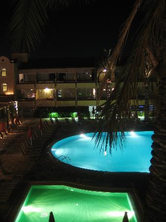 Napa Plaza Hotel: Pool by night, from balcony