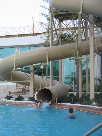Caribe Resort: My two sons exiting one of the water slides at Caribe