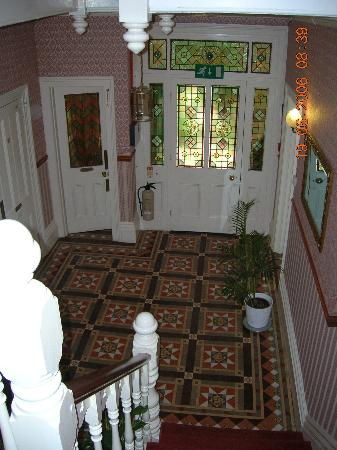 The Towers Hotel: The impressive entrance hall (original Victorian tiled floor and stained glass in door)