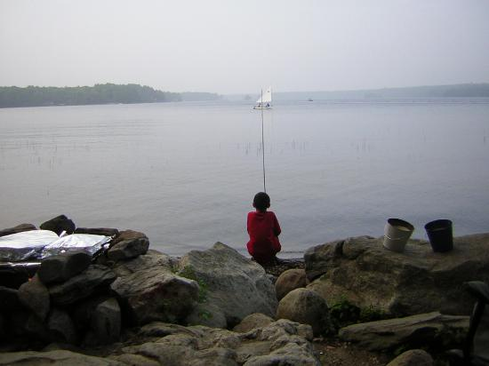 Lake Pemaquid Campground: Just a boy fishin
