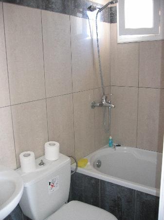 Villa Ilias Caldera Hotel: The funky tub and shower