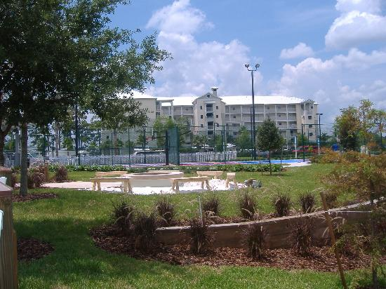 Marriott's Harbour Lake: Basketball courts with bldg 14 in the background