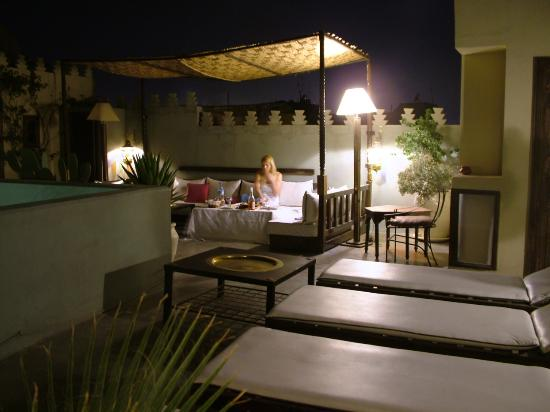 Riad des Arts Roof Top Terrace by Night