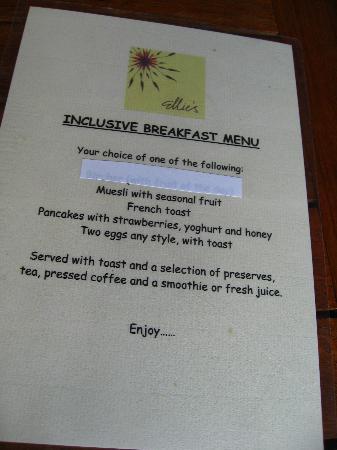 Ellie's: Breakfast Menu