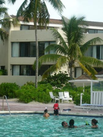 Blue Water Resort on Cable Beach: view of our 3 story condo from the pool