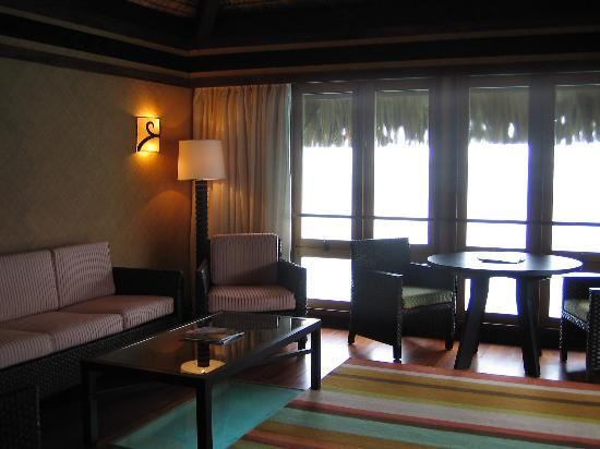 The St. Regis Bora Bora Resort: Living room OWB