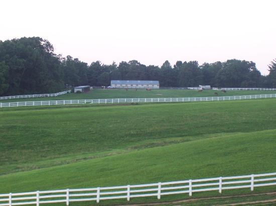 Shenandoah Crossing: View of stables from the lodge