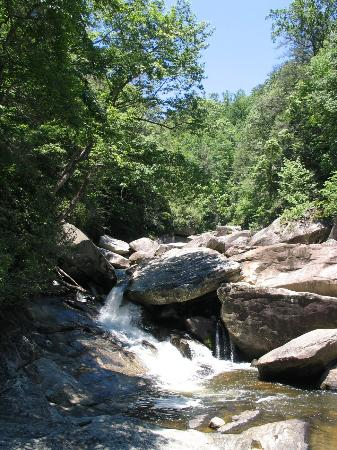 Sapphire, Carolina do Norte: Cascade and Wading Pool Above Windy Falls - Upstream