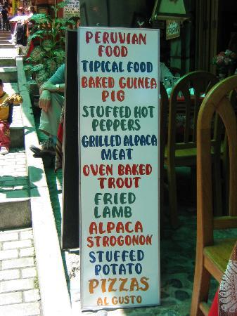Hostal Presidente: Local restaurant's menu
