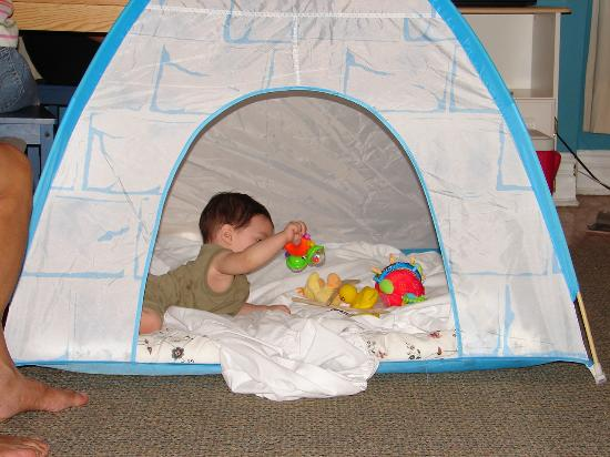 University Bed & Breakfast Apartments: Kiddie tent and my son enjoying it