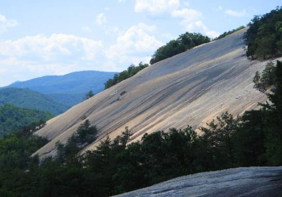 Stone Mountain State Park : Side view of one face of Stone Mtn, from the trail to the falls