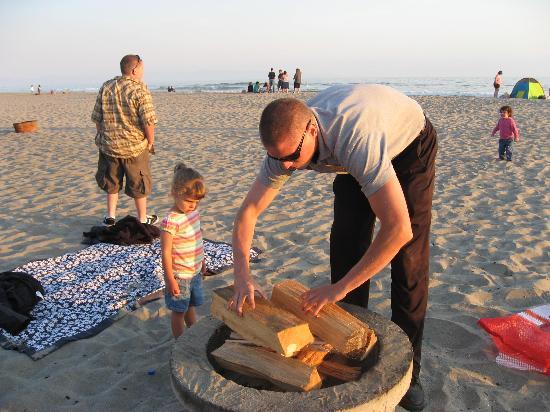Seascape Resort Our Bonfire Being Built At Sunset Beach
