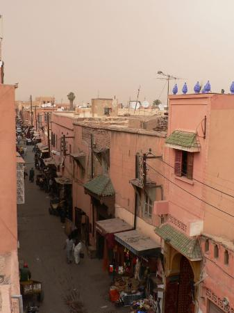 Riad Dar Anika: Looking down Riad Zitoune Kedim as another sand-laden storm sweeps in.