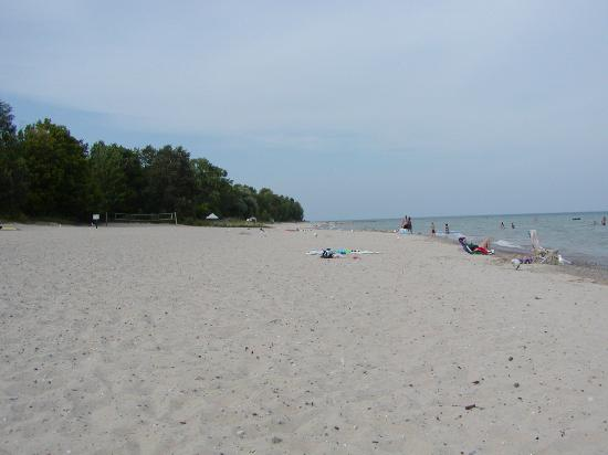 view of Harrisville State Park beach on Lake Huron looking North