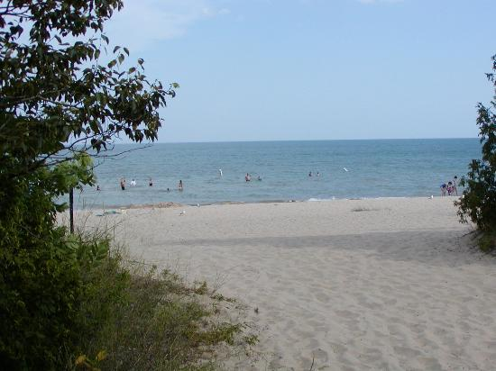 view of Harrisville State Park beach from horseshoe pits
