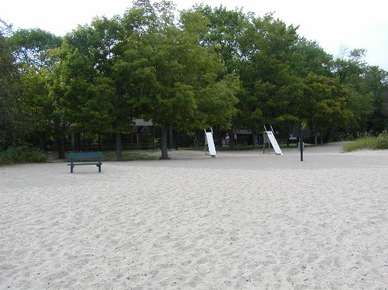 small playground on Harrisville State Park beach