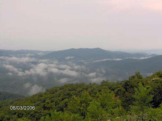 North Carolina Mountains, North Carolina: A view of mountain ridges off of overlook on The Blue Ridge Parkway.