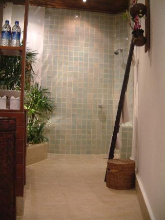 Rocky's Boutique Resort: Shower and shrubs!
