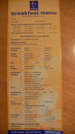 Sundowner Orange: breakfast menu
