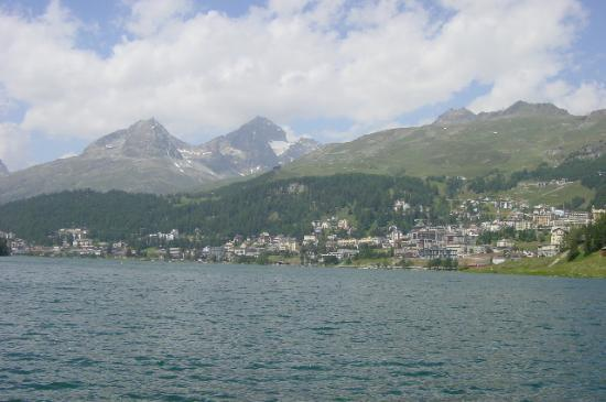 Kulm Hotel St. Moritz: St. Moritz from across the lake. Kulm at the far right side.