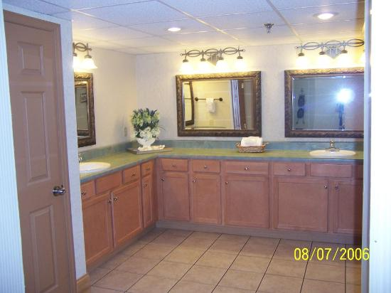 Willow Brook Lodge: vanity area and bathroom stalls