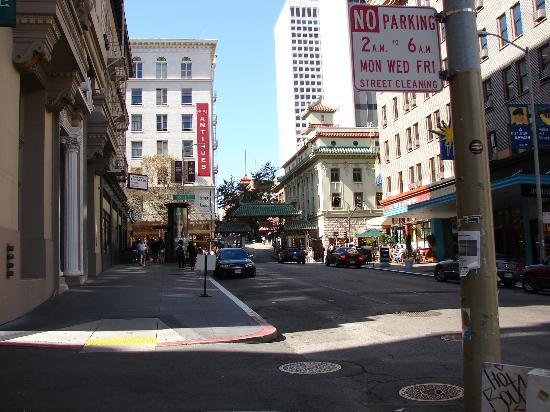 SF Plaza Hotel: The hotel to the left of the entrance of china town
