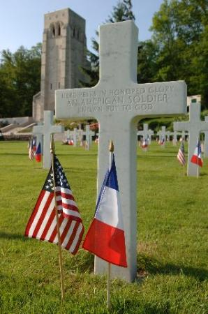 Château-Thierry, France : On American Memorial day flags are set out at Belleau Wood
