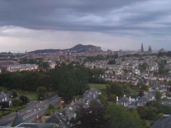 Holiday Inn Edinburgh City - West : View from Holiday Inn to Edinburgh - castle hill in distance