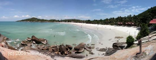 Ko Phangan, Thailand: Haad Rin Sunrise Beach. White sand with palms.