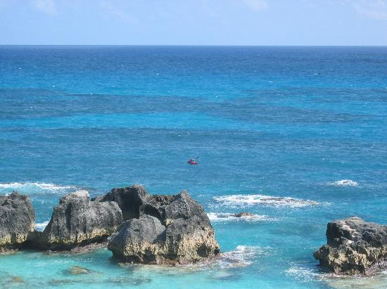 The Reefs: my husband kayaking--taken from our veranda