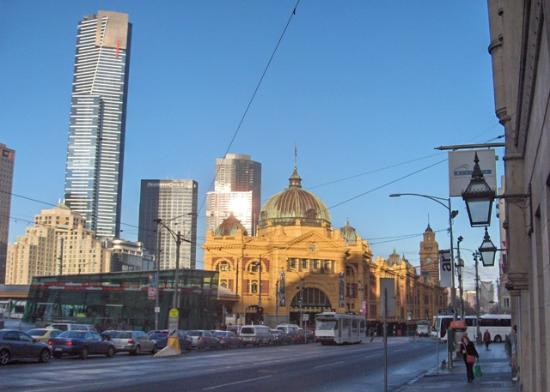 The Langham, Melbourne: Flinders St. Station with Langham on the left