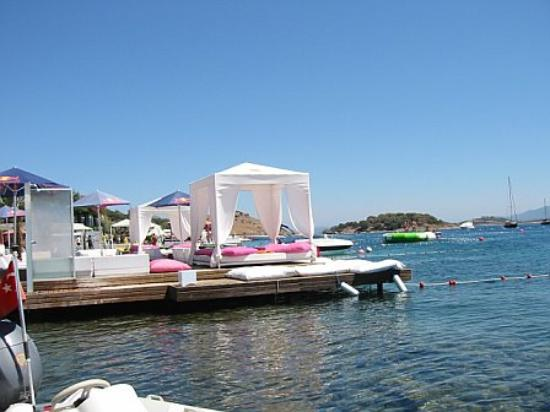 "Ada Hotel : The ""beach"" in Turkbuku, a set of boardwalks, decks and roped off swimming areas."