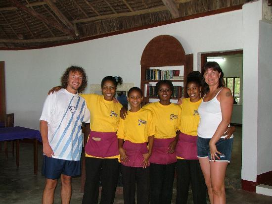 Pongwe Beach Hotel: The lovley staff and us.