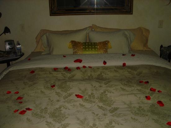 ‪‪Avalon, a Luxury Bed & Breakfast‬: Rose petals on our bed after dinner‬