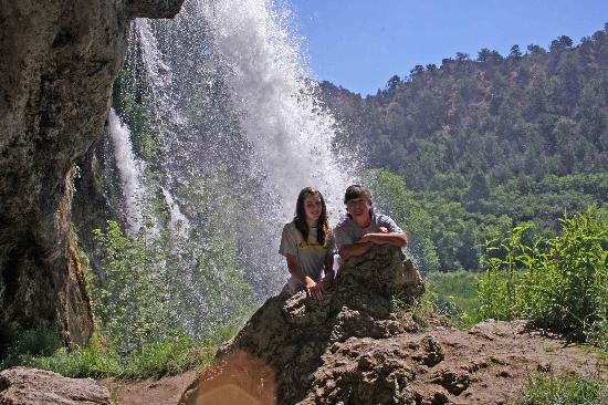 Rifle, CO: Standing behind the waterfalls