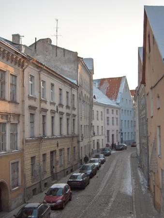 Three Sisters Hotel: Down medieval Pikk St. towards the Old Town Square