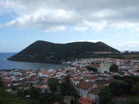 Angra do Heroísmo, Portugal: View of Angra from hilltop - A Ilha is near the blue church on the left.