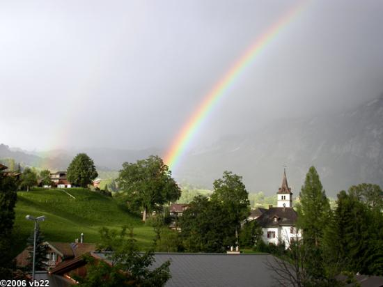 Hotel Gletschergarten: Double rainbow over our hotel