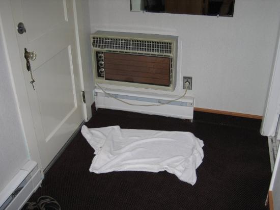 Royalty Inn: Small, thin towel;  unusable AC