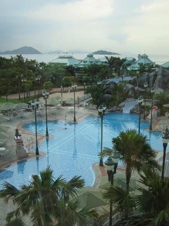 Hong Kong Disneyland Hotel: Infinity edge pool, massive hot tub, water slide, and EXCELLENT service.