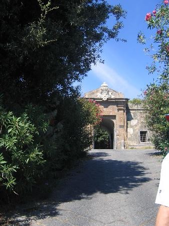 Ischia, Italia: Entrance to the Aragonese Castle now home to a small archeological museum of once underwater...