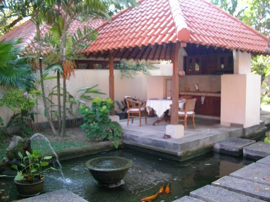 Natah Bale Villa: Pond & kitchen
