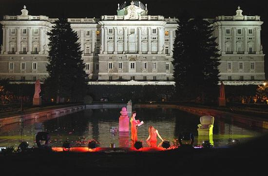 Madrid, Spain: Night concert in front of the Royal Palace
